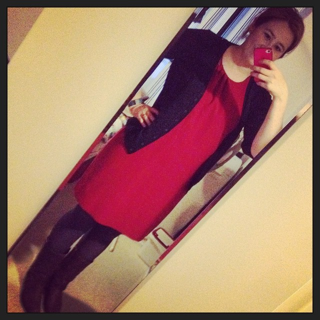 #frocktober day 15 (which I somehow forgot to document). Red dress, grey tights, Frye boots.