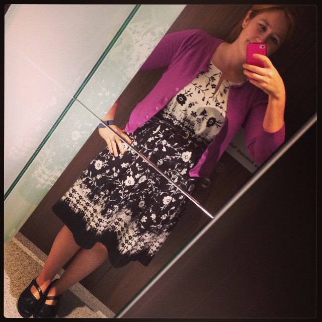 #frocktober day 14. Black and white and pinky-purple. (Or is that mauve?)