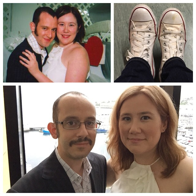 10 years ago today. Same outfits, same shoes; a little older and wiser. Happy anniversary to my best friend!