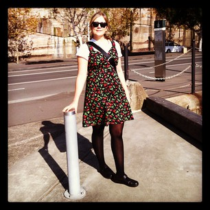 It amused me to wear a homemade dress to work when Sydney Fashion Week is happening just a few blocks away!